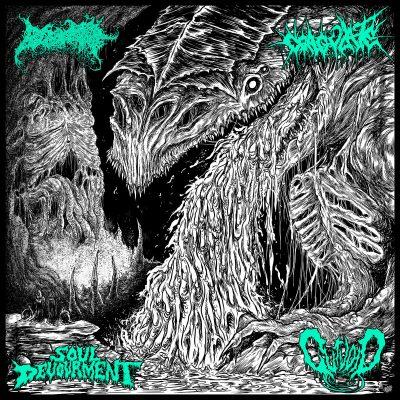 "BLOOD SPORE / COAGULATE / SOUL DEVOURMENT / GUTVOID – Four Dimensions of Auditory Terror LP 12"" Vinyl Records"